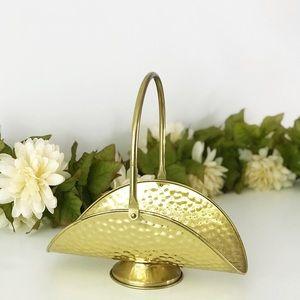 Vintage Brass Foraging Basket Hinged Handle Decor